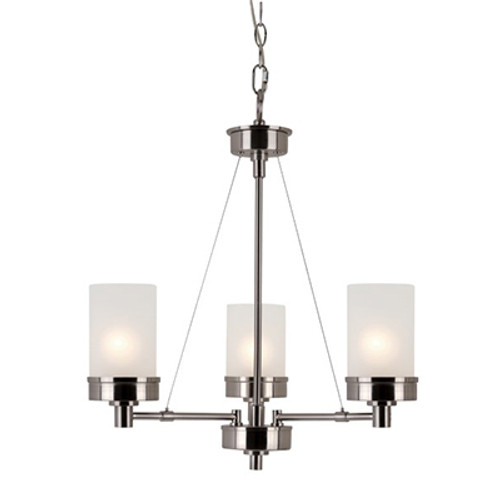 """Fusion Fusion 22"""" Brushed Nickel Contemporary Chandelier with Frosted Glass and Metal Trim"""