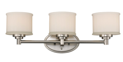 """Cahill 24"""" Indoor Brushed Nickel Transitional Vanity Bar with Frosted Glass Drum Shades"""