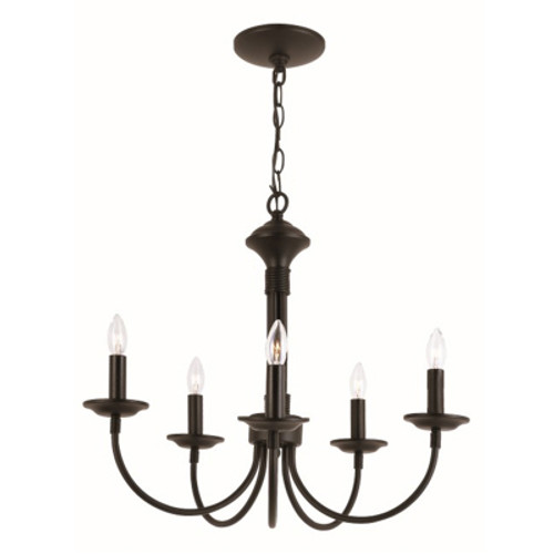 """Candle Collection 19"""" Indoor Black Colonial Chandelier"""