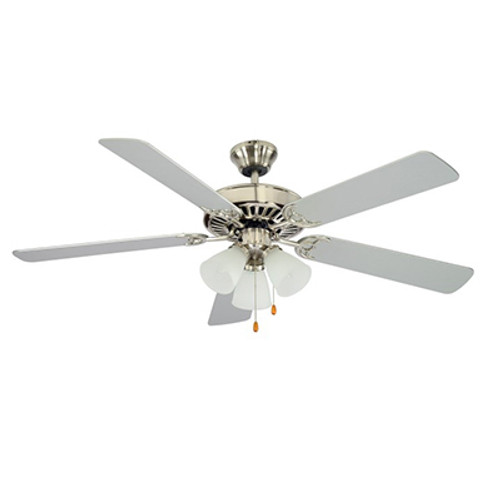 """Spottswood Spottswood 52"""" Indoor Brushed Nickel Traditional Ceiling Fan with Glass Shade & Reversible Blades"""