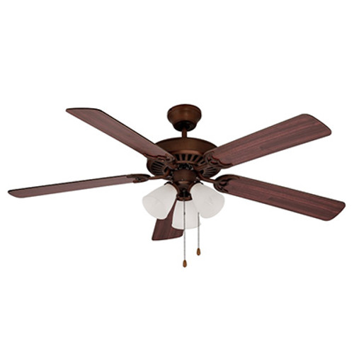 """Spottswood Spottswood 52"""" Indoor Rubbed Oil Bronze Traditional Ceiling Fan with Glass Shade & Reversible Blades"""