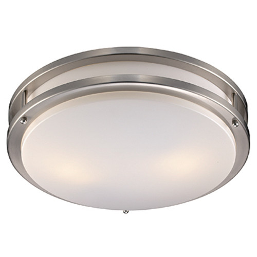 "Barnes 17"" Indoor Modern Flushmount with Contemporary Brushed Nickel Frame and Acrylic White Shade"