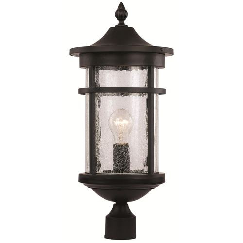 "Trans Globe Lighting 40384 RT 16.75"" Outdoor Rust Transitional Postmount Lantern(Shown in Black Finish)"