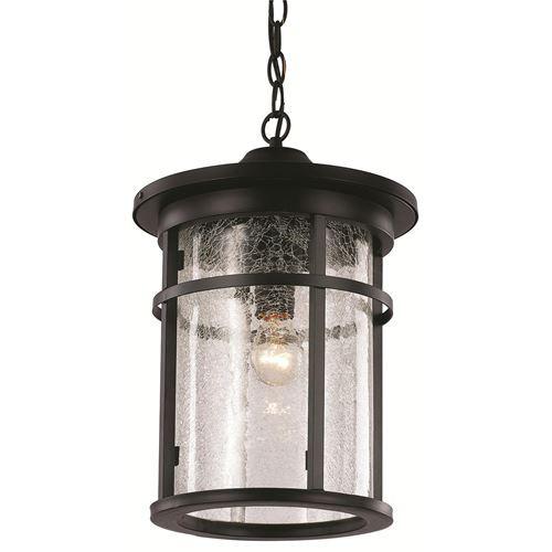 "Trans Globe Lighting 40386 RT 16"" Outdoor Rust Transitional Hanging Lantern(Shown in Black)"