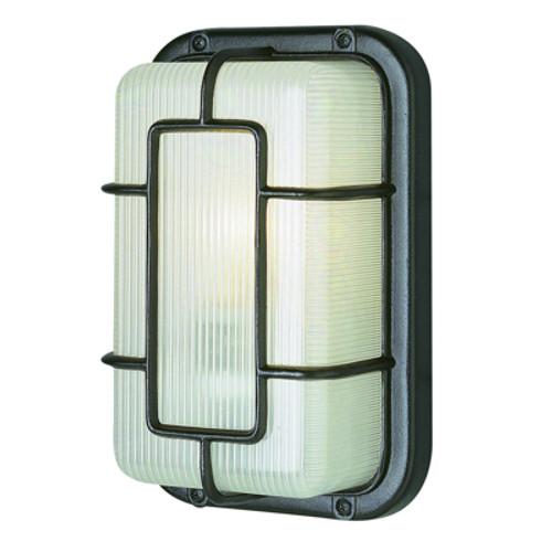 "Trans Globe Lighting 41101 SAL 10"" Outdoor Satin Aluminum Art Deco Bulkhead(Shown in Black Finish)"