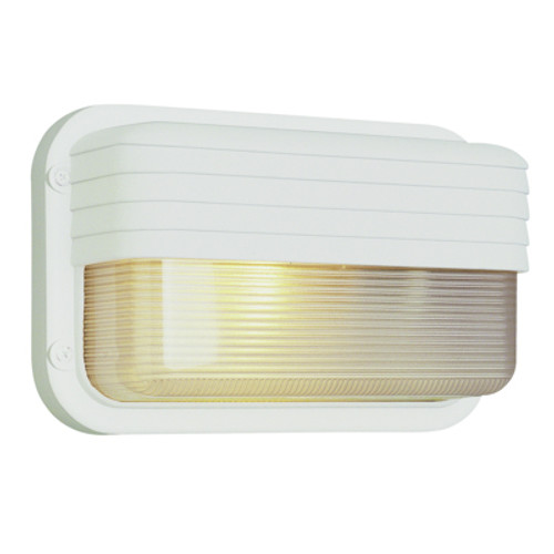 "Trans Globe Lighting 41102 SAL 6.5"" Outdoor Satin Aluminum Traditional Metal Bulkhead(Shown in White  Finish)"