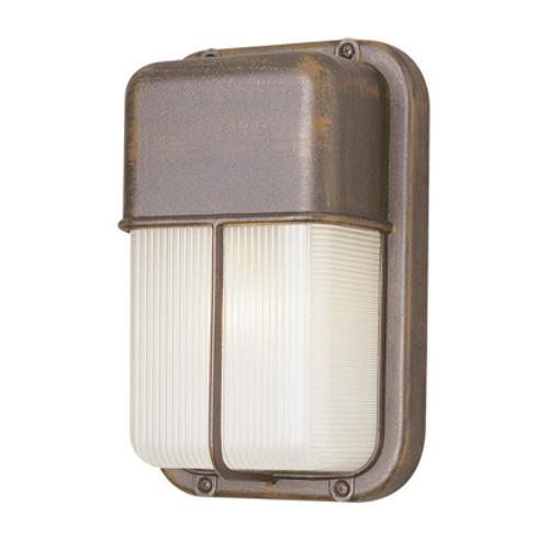 "Trans Globe Lighting 41103 SAL 10"" Outdoor Satin Aluminum Traditional Metal Bulkhead(Shown in Rust Finish)"