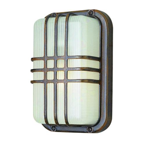 "Trans Globe Lighting 41104 WH 10"" Outdoor White Art Deco Metal Bulkhead(Shown in Rust Finish)"