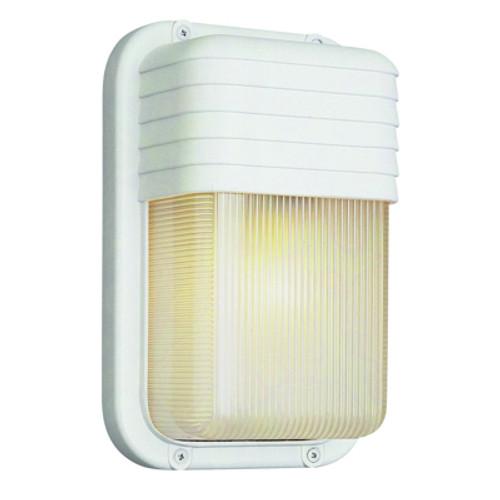 "Trans Globe Lighting 41105 SAL 10"" Outdoor Satin Aluminum Traditional Metal Bulkhead(Shown in White Finish)"