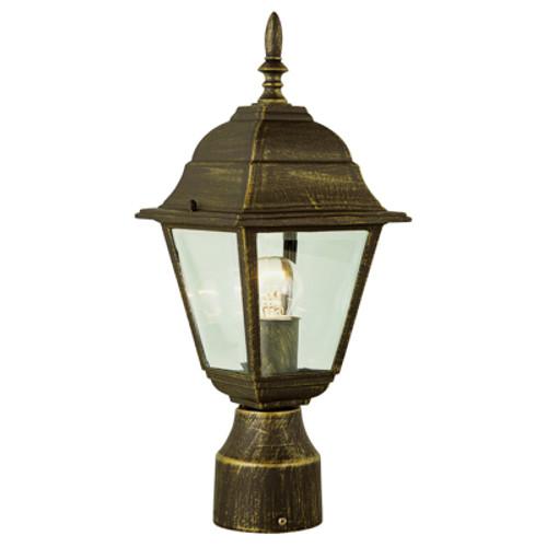 "Trans Globe Lighting 4414 RT  15"" Outdoor Rust Colonial  Postmount Lantern (Shown in Black Gold Finish)"