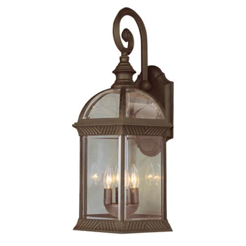 "Trans Globe Lighting 44182 BK 26"" Outdoor Black Traditional Wall Lantern(Shown in Rust Finish)"