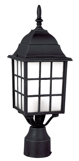 "Trans Globe Lighting 4421 BG (Shown in BK Finish) 18.5"" Outdoor Black Gold Mission/Craftsman Postmount Lantern."
