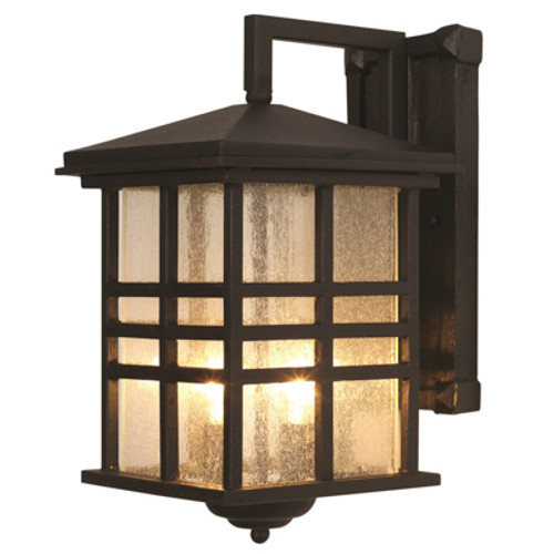 """Trans Globe Lighting 4635 WB 10"""" Outdoor Weathered Bronze Mission/Craftsman Wall Lantern(Shown in BK Finish)"""