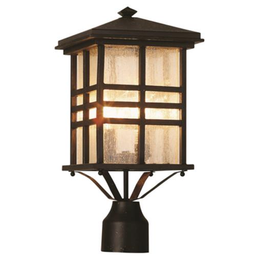 "Trans Globe Lighting 4639 WB 16"" Outdoor Weathered Bronze Mission/Craftsman Postmount Lantern(Shown in BK Finish)"