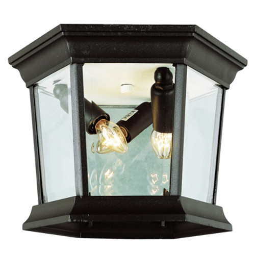 "Trans Globe Lighting 4904 BG 6.5"" Outdoor Black Gold Traditional Flushmount Lantern(Shown in BK Finish)"