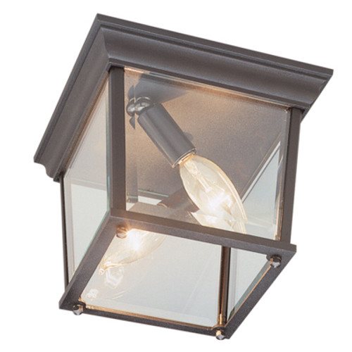 "Trans Globe Lighting 4905 BK 6.5"" Outdoor Black Traditional Flushmount Lantern(Shown in RT Finish)"