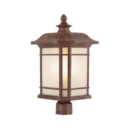 "Trans Globe Lighting 5824 RT 16"" Outdoor Rust Mission/Craftsman Postmount Lantern"