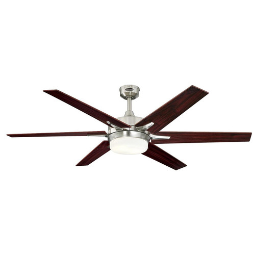 Westinghouse 7207700 Transitional Cayuga 60 inch Brushed Nickel Indoor Ceiling Fan, Dimmable Led Light Kit with Opal Frosted Glass