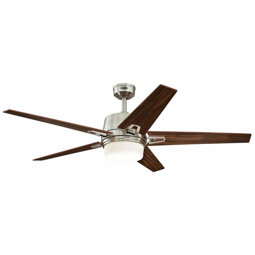Westinghouse 7204600 Transitional Zephyr 56 inch Brushed Nickel Indoor Ceiling Fan, Dimmable Led Light Kit with Opal Frosted Glass