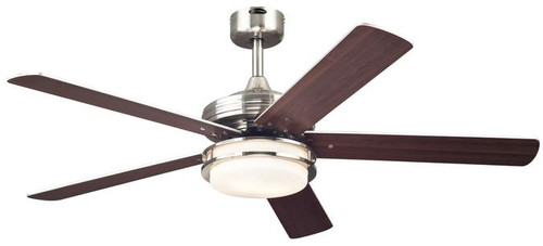 Castle LED 52-Inch Indoor Ceiling Fan LED Light Kit Brushed Nickel Finish with Reversible Weathered Maple/Beech Blades, Opal Frosted Glass