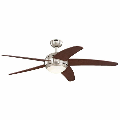 Westinghouse 7206500 Bendan LED 52-inch Brushed Nickel with Hammered Accents Indoor Ceiling Fan, Dimmable LED Light Kit with Opal Frosted Glass, Remote Control Included