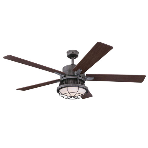 Westinghouse Lighting 7220400 Chambers 60-Inch Ceiling Fan, Distressed Aluminum Indoor, Dimmable LED Light Kit, Opal Frosted Glass, Removable Cage and Remote Control Included