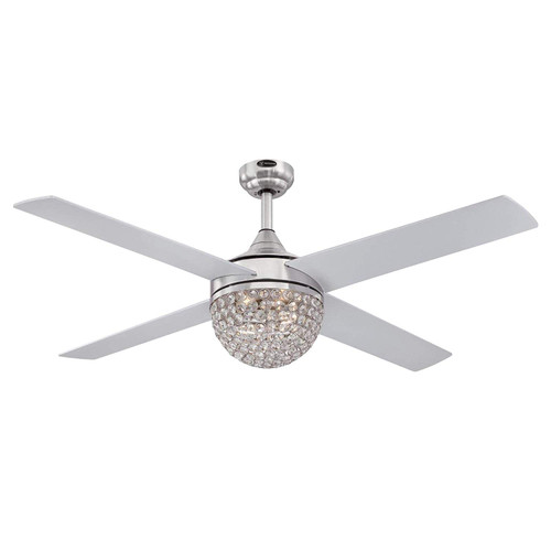Westinghouse Lighting 7220600 Kelcie 52-Inch Brushed Nickel Indoor Ceiling Fan, Dimmable LED Light Kit with Crystal Jewel Shade, Remote Control Included