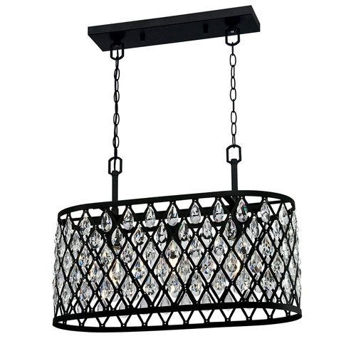 Westinghouse 6355000 Waltz Three-Light Indoor Chandelier Matte Black Finish Mesh with Crystals