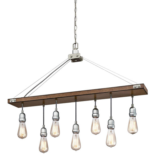 Westinghouse Lighting 6351500 Elway Seven-Light Indoor, Barnwood Finish with Galvanized Steel Accents CHANDELIER