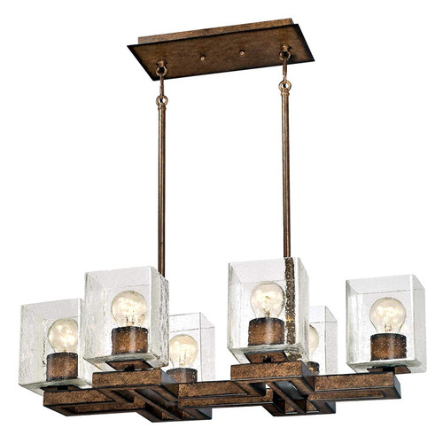 Westinghouse Lighting 6334500 Manchester Six-Light Indoor Chandelier Barnwood Finish with Clear Seeded Glass