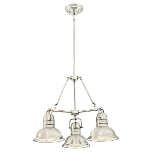 Westinghouse Lighting 6333900 Boswell Three-Light Indoor Chandelier, Brushed Nickel Finish with Prismatic Lens
