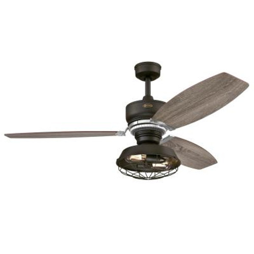 Westinghouse 7223500 Thurlow LED 54-Inch Indoor Ceiling Fan with Dimmable LED Light FixtureWeathered Bronze Finish with Reversible Driftwood/Reclaimed Hickory Blades, Metal Shade with Removable Cage, Remote Control Included