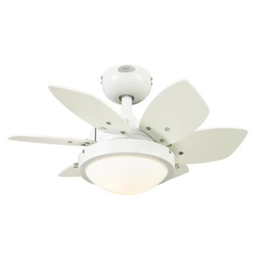 Westinghouse 722400 Quince LED 24-Inch Indoor Ceiling Fan with Dimmable LED Light FixtureWhite Finish with Reversible White/Beech Blades, Opal Frosted Glass