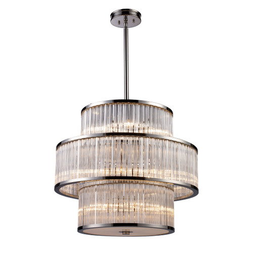 ELK Lighting 10130/5+5+5 Braxton 15-Light Chandelier in Polished Nickel with Ribbed Glass Cylinder Shade