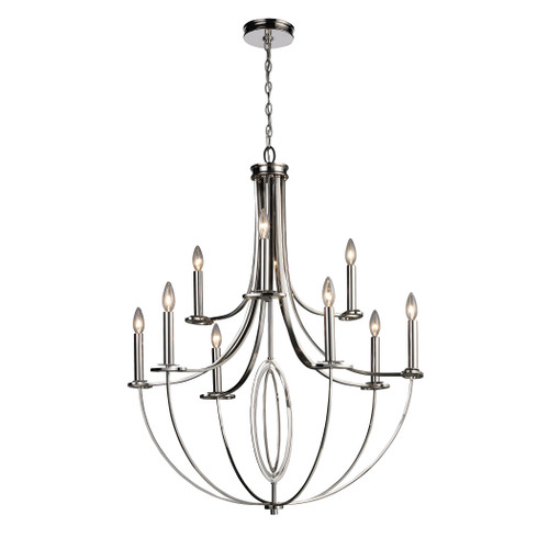 ELK Lighting 10159/6+3 Dione 6+3-Light Chandelier in Polished Nickel