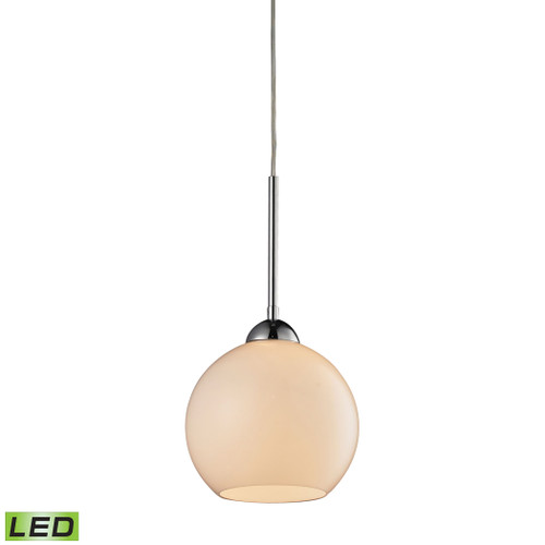 ELK Lighting 10240/1WH-LED Cassandra 1-Light Mini Pendant in Polished Chrome with White Glass - Includes LED Bulb