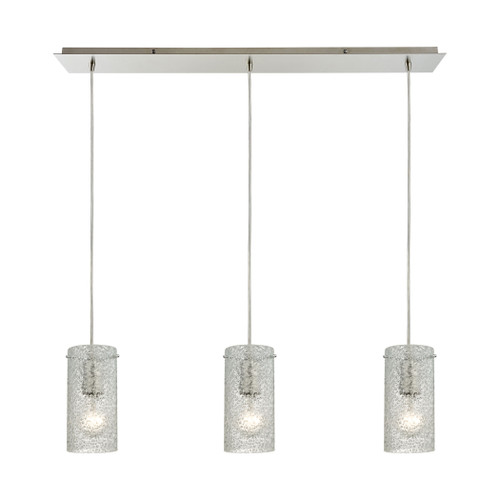 ELK Lighting 10242/3LP Ice Fragments 3-Light Linear Pendant Fixture in Satin Nickel with Clear Glass