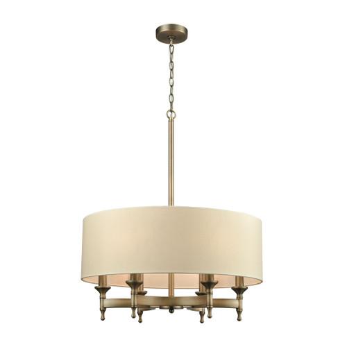 ELK Lighting 10264/6 Pembroke 6-Light Chandelier in Brushed Antique Brass with Light Tan Fabric Shade