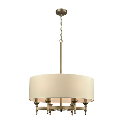 ELK Lighting 10264/6 Pembroke 6-Light Chandelier in Brushed Antique Brass with Light Tan Fabric Shade