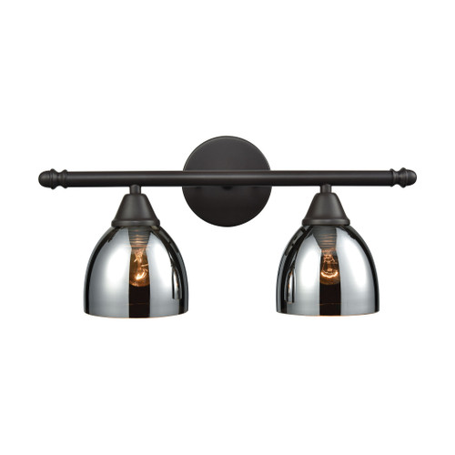 ELK Lighting 10271/2 Reflections 2-Light Vanity Lamp in Oil Rubbed Bronze with Chrome-plated Glass
