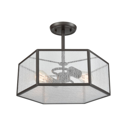 ELK Lighting 10351/2 Spencer 2-Light Semi Flush in Oil Rubbed Bronze with Translucent Organza PVC Shade