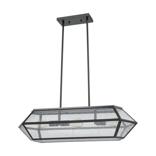 ELK Lighting 10354/3 Spencer 3-Light Linear Chandelier in Oil Rubbed Bronze with Translucent Organza PVC Shade