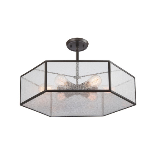 ELK Lighting 10355/6 Spencer 6-Light Chandelier in Oil Rubbed Bronze with Translucent Organza PVC Shade