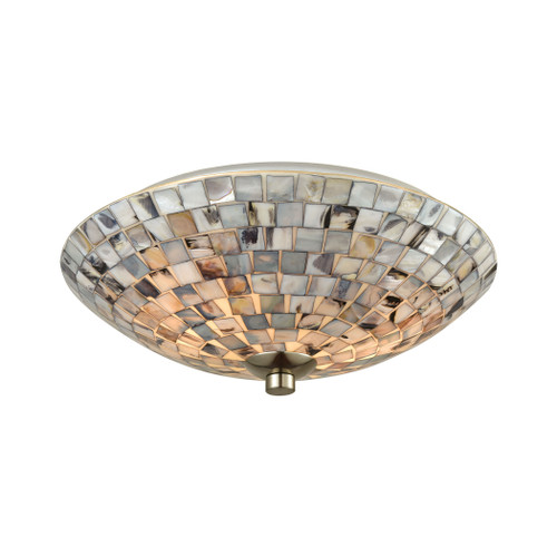 ELK Lighting 10401/2 Capri 2-Light Flush Mount in Satin Nickel with Gray Capiz Shells on Glass
