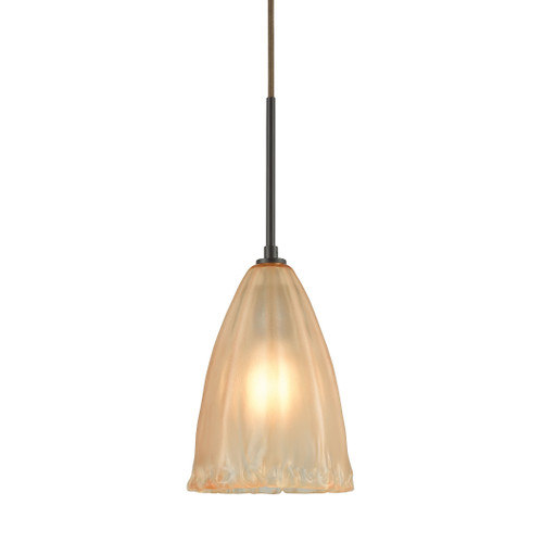 ELK Lighting 10439/1 Calipsa 1-Light Mini Pendant in Oiled Bronze with Light Amber Frosted Glass