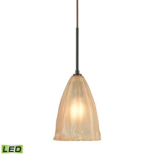 ELK Lighting 10439/1-LED Calipsa 1-Light Mini Pendant in Oiled Bronze with Light Amber Frosted Glass - Includes LED Bulb