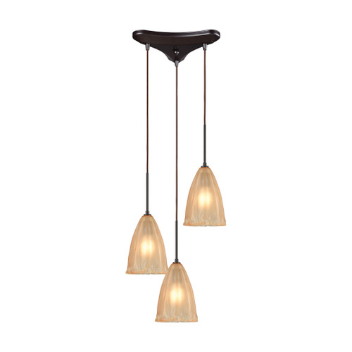 ELK Lighting 10439/3 Calipsa 3-Light Triangular Pendant Fixture in Oiled Bronze with Light Amber Frosted Glass