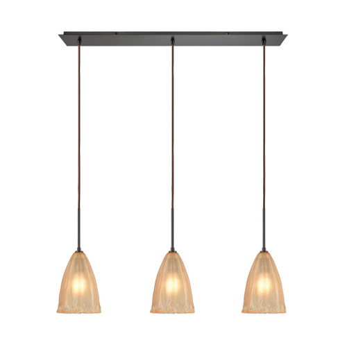 ELK Lighting 10439/3LP Calipsa 3-Light Linear Mini Pendant Fixture in Oiled Bronze with Light Amber Frosted Glass