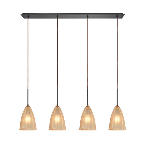 ELK Lighting 10439/4LP Calipsa 4-Light Linear Pendant Fixture in Oiled Bronze with Light Amber Frosted Glass