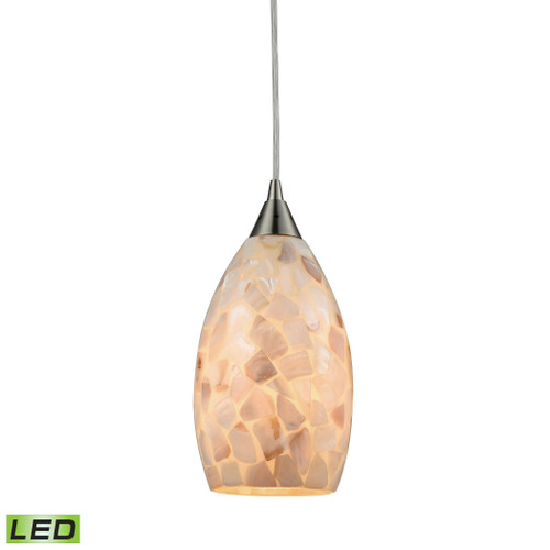 ELK Lighting 10443/1-LED Capri 1-Light Mini Pendant in Satin Nickel with Capiz Shell Glass - Includes LED Bulb